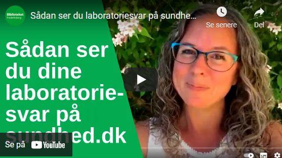 Link til YouTube om at se sine laboratoriesvar på Sundhed.dk