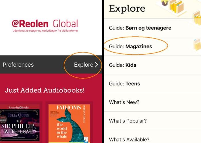 Skærmdumps fra appen Libby med visning af magasinernes placering