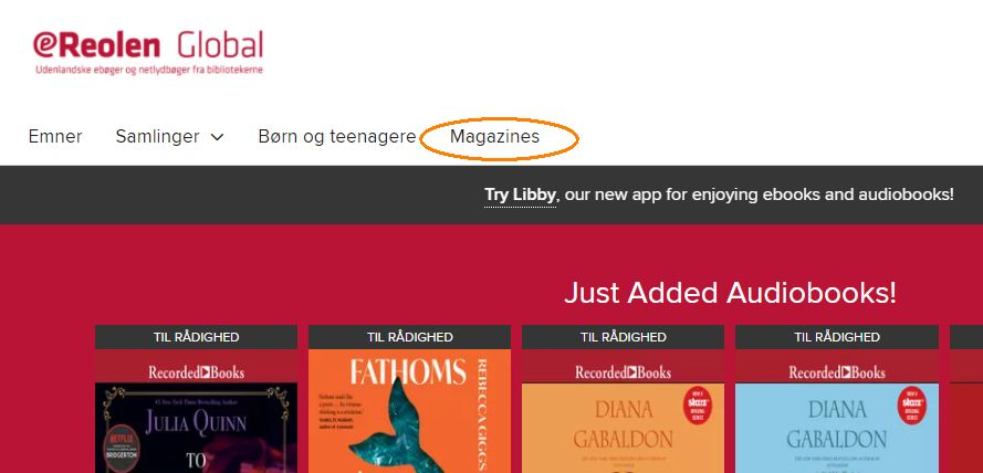 Billede viser menupunktet Magazines på eReolen Globals hjemmeside
