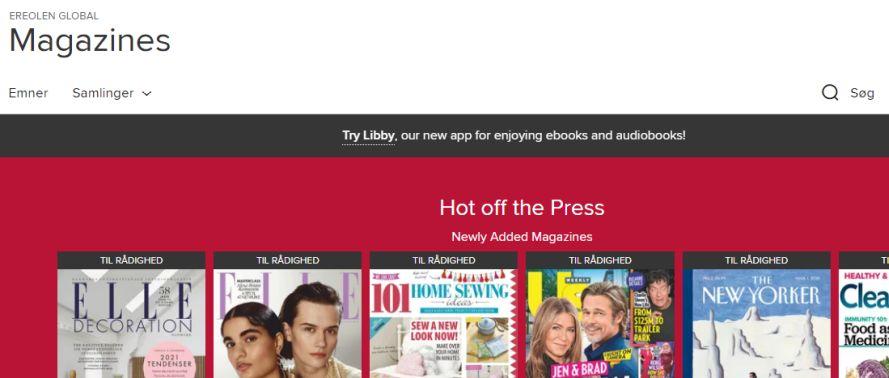 Billede viser en lille oversigt over magasiner på eReolen Global