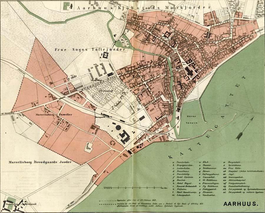 Billede viser Kort over købstaden Aarhus ca. 1879