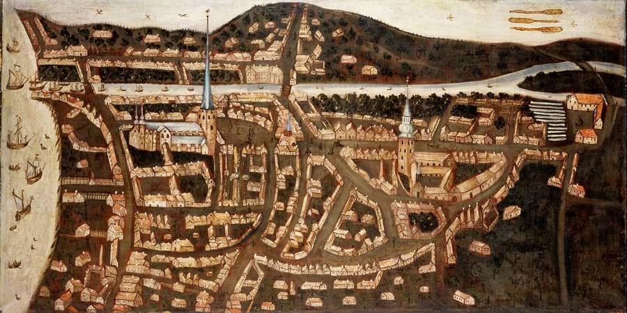 Billedet viser et 1640'er-prospekt og er en topografisk fremstilling af Aarhus omkring 1640. Aarhus Mølle ses i øverste højre hjørne. Den Gamle By.