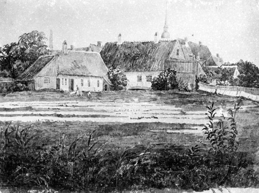 Billede som viser udsigten fra Bispetorvet over Aarhus Å mod Blegdammen og Vor Frue Kirke. Efter akvarel af Bertha Weis, 1860, Den Gamle By.