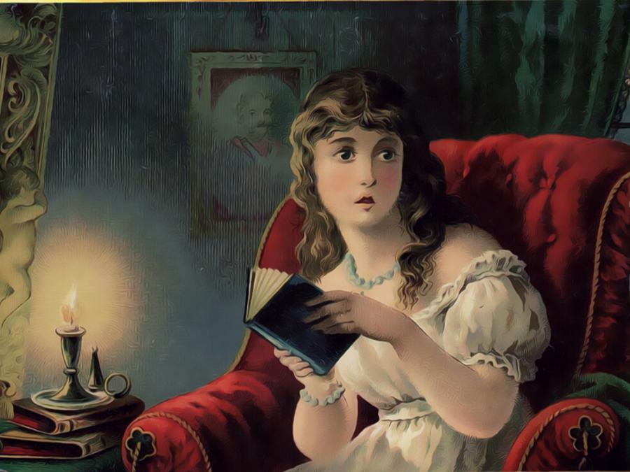 Tegning af 1800-talskvinde i stol med en bog.