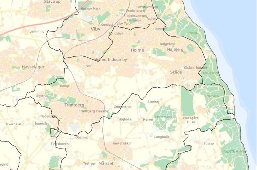 Kort: Kortet viser, hvor kommunegrænsen gik i 1969 inden den store kommunesammenlægning.