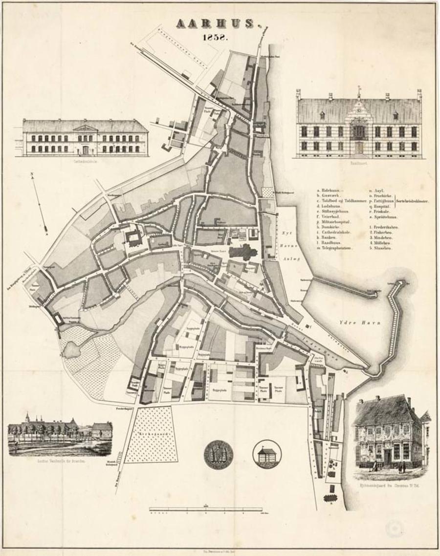 Billedet viser et kort over købstaden Aarhus i 1858 fra den første udgave af Trap Danmark