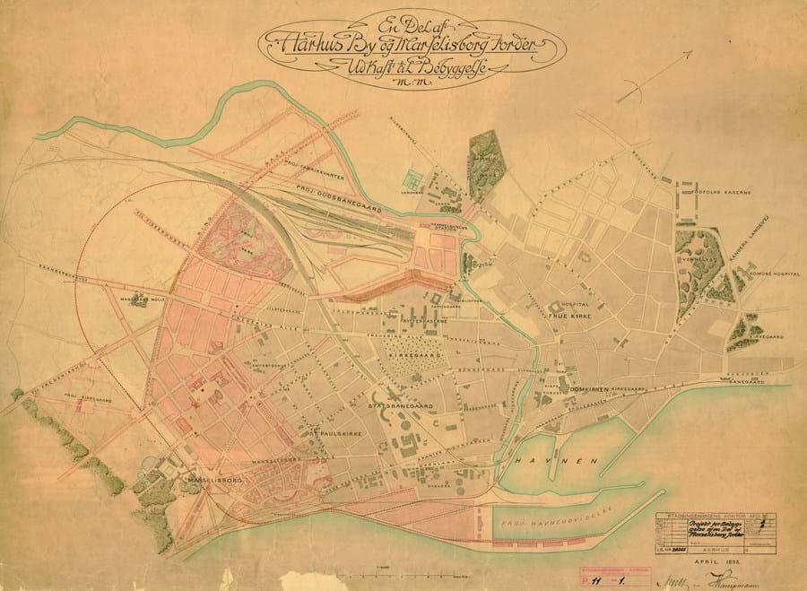 Kort viser Kongelig bygningsinspektør Hack Kampmann og stadsingeniør Charles Ambt, Københavns Kommune udarbejdede i 1898 et udkast til en byplan for den nye bydel Frederiksbjerg