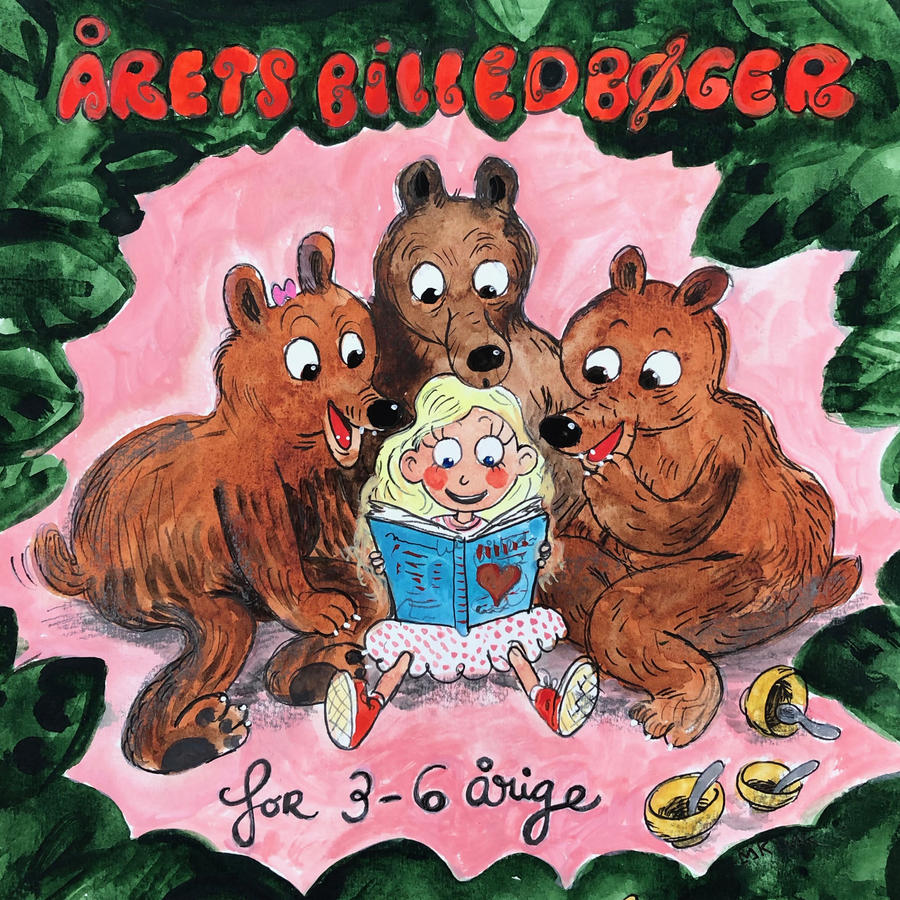 Tegning af en læsende pige omgivet af tre bjørne