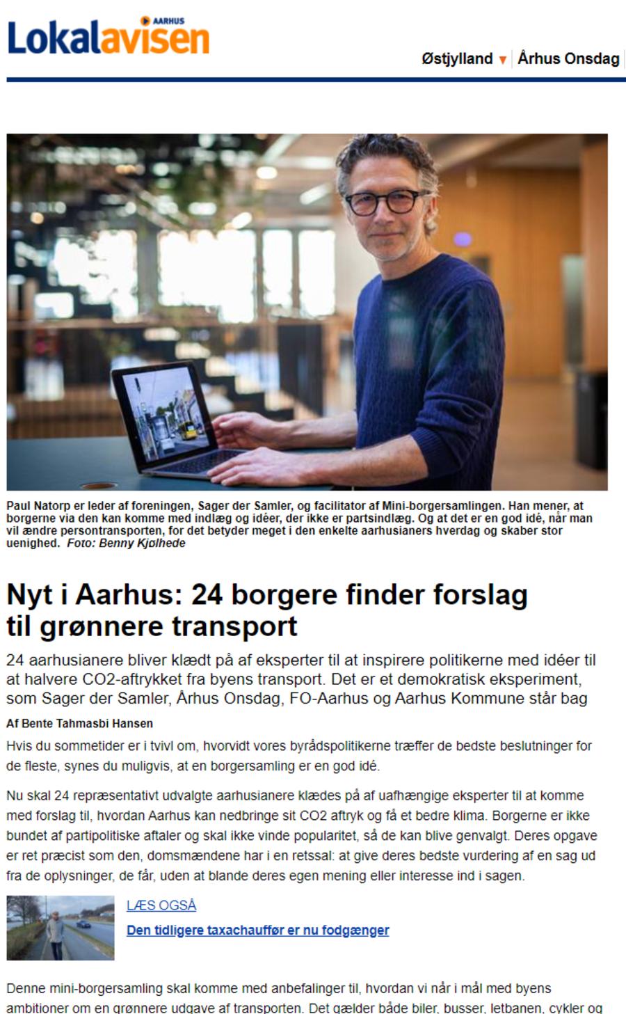 Billede af artikel fra Aarhus Onsdag om borgersamling