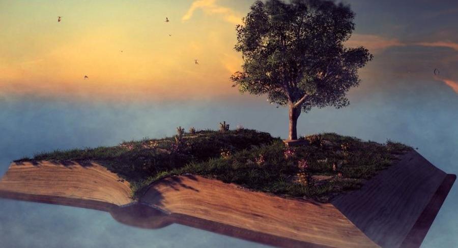 Træ vokser ud af en magisk bog