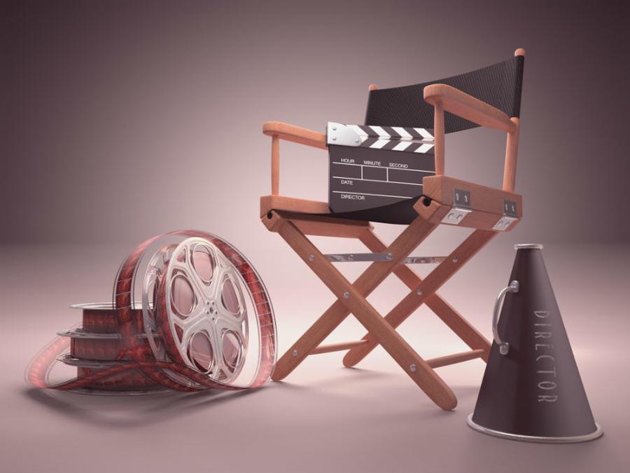 Filmrulle og instruktørstol