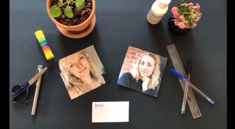 Billeder af to piger på et bord sammen med nogle kreative redskaber