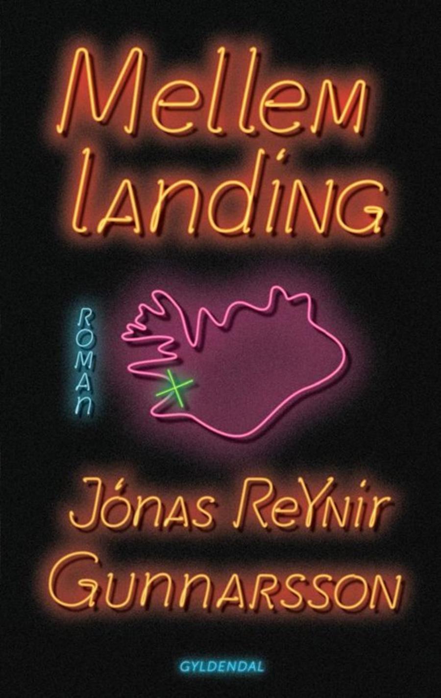 Forside af bogen Mellemlanding, der ligner et reklameskilt