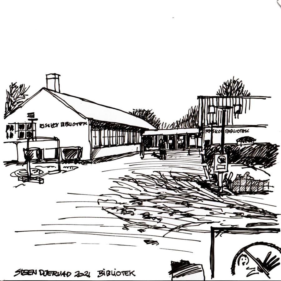 Tegning af Risskov Bibliotek, Steen Djervad 2021