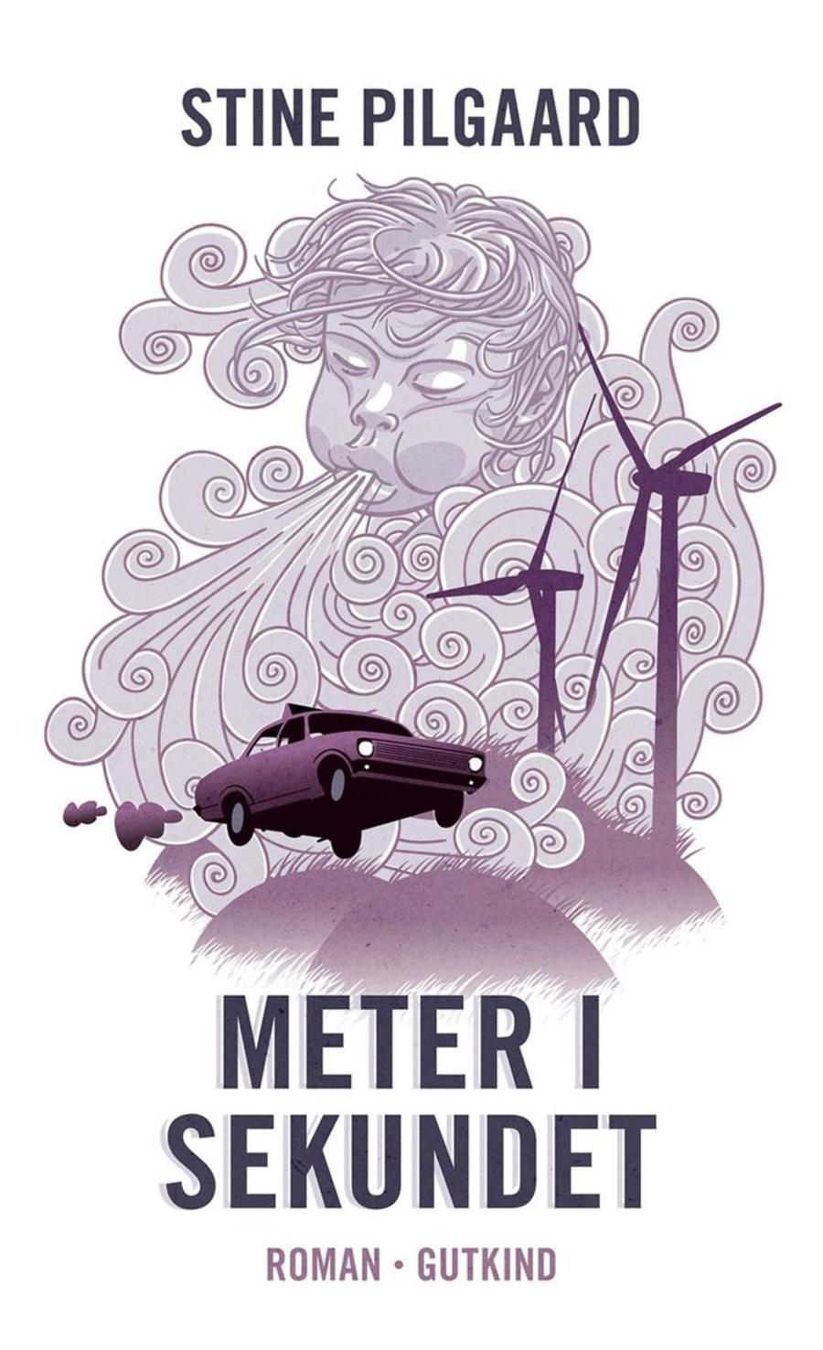 Tegning med bil en høj fart, blæst og vindmøller